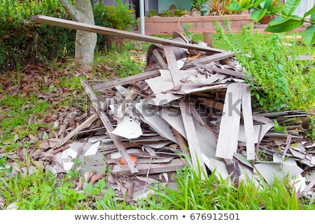 stacked plank of splintered timber wood from demolish            Stock photo © Melvin07