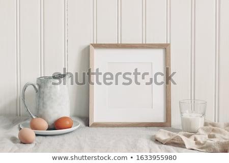 çerçeve seramik yumurta yalıtılmış beyaz arka plan Stok fotoğraf © stokato