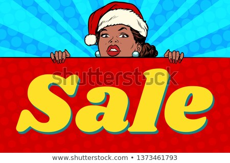 Winter woman showing sign banner stock photo © Maridav