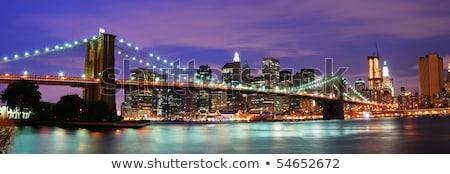 manhattan · Nova · Iorque · pôr · do · sol · linha · do · horizonte · chuvoso · crepúsculo - foto stock © rabbit75_sto