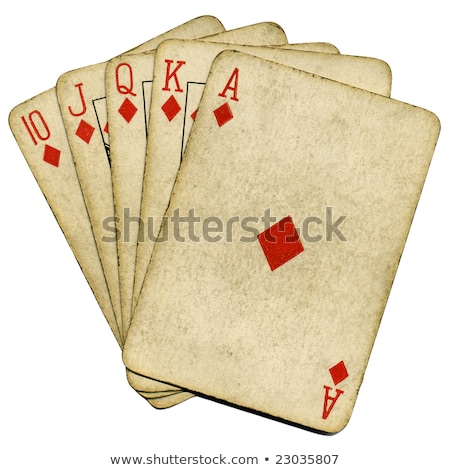 Royal flush old vintage poker cards isolated over white. Stock photo © latent