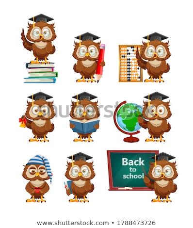 bölcs · bagoly · tanár · illusztráció · ül · könyvek - stock fotó © x-etra