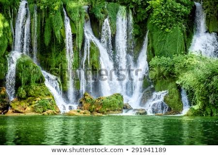 Paradies Wasserfall grünen Moos zunehmend Stock foto © kikkerdirk