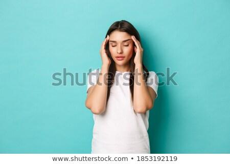 Cute bruna mal di testa donne capelli stress Foto d'archivio © photography33