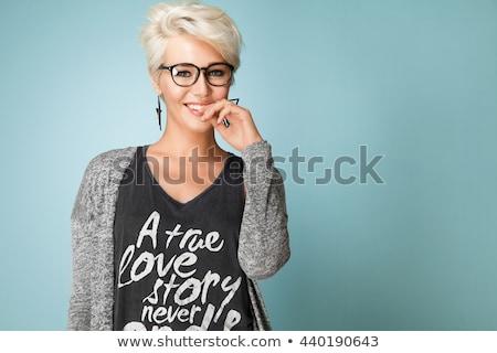 bastante · jóvenes · mujer · rubia · shorts · chaqueta · de · cuero - foto stock © stryjek