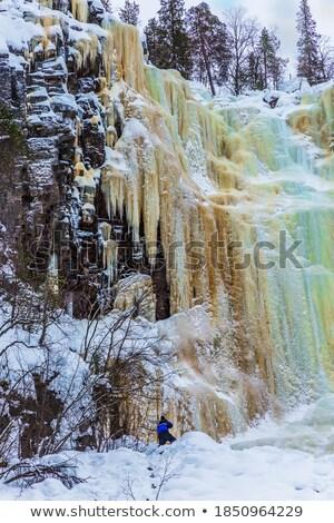 water · af · bevroren · waterval · muur · ijs - stockfoto © peterveiler