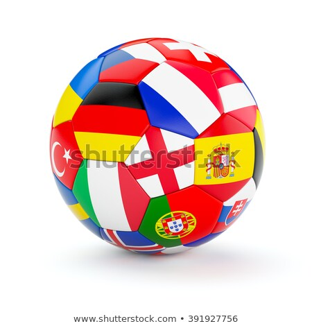 Soccer ball With Ukraine and Poland Flags Stock photo © leedsn