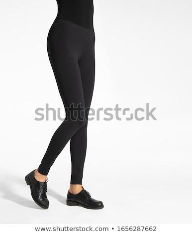 女性 タイト 革 ズボン セクシーな女性 ポーズ ストックフォト © peterveiler