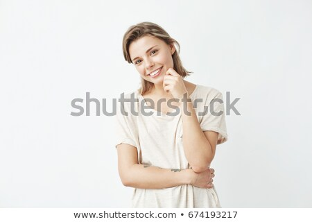 cute shy young student girl stock photo © lithian