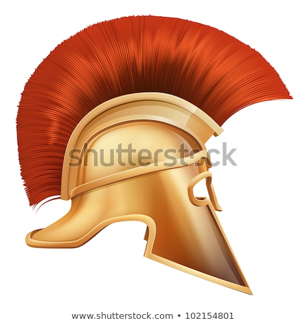 Сток-фото: Roman Centurion Mascot Head With Helmet Cartoon Vector Graphic