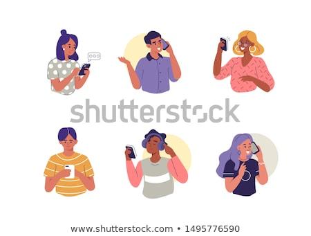 biznesmen · mówić · telefonu · komórkowego · lobby · biuro · telefonu - zdjęcia stock © texelart