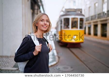 Jóvenes persona tranvía nina ciudad paisaje Foto stock © photography33