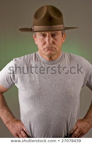 Boor instructeur geïsoleerd witte bedrijf militaire Stockfoto © lkeskinen