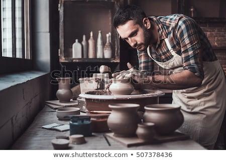 trabalhando · argila · escritório · mãos · trabalhar · trabalhador - foto stock © smithore