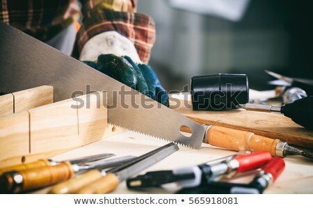worker holding plank of wood and hand saw stock photo © photography33