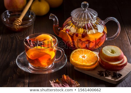 tasse · thé · vert · citron · rustique · table · en · bois · feuille - photo stock © joker