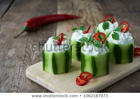 gevuld · komkommer · room · peper · diner · plantaardige - stockfoto © m-studio