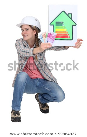 woman laborer holding energy rating sign and bills stock photo © photography33