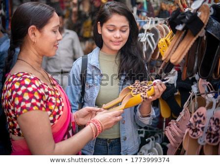 Cipők kirakat Delhi India nő Stock fotó © haraldmuc