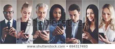 üzletasszony · küldés · szöveges · üzenet · iroda · ablak · öltöny - stock fotó © photography33
