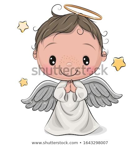Bébé ange coton ailes visage heureux Photo stock © Marcogovel