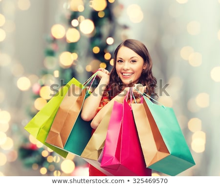beautiful christmas shopping woman stock photo © kurhan