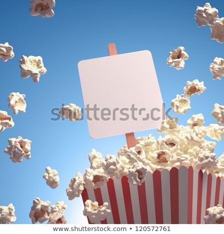 Popcorn tekst kukurydza karty wybuchu Zdjęcia stock © idesign