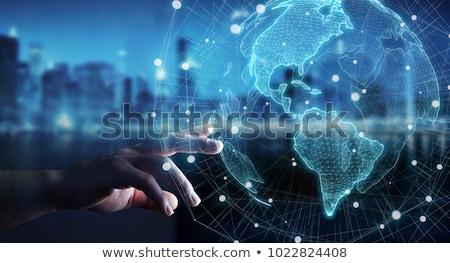 Futuristic woman touch finger global map stock photo © lunamarina