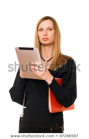 Blonde with the pda and folder Stock photo © acidgrey