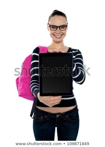 Wesoły kobieta nowo kamery atrakcyjny Zdjęcia stock © stockyimages