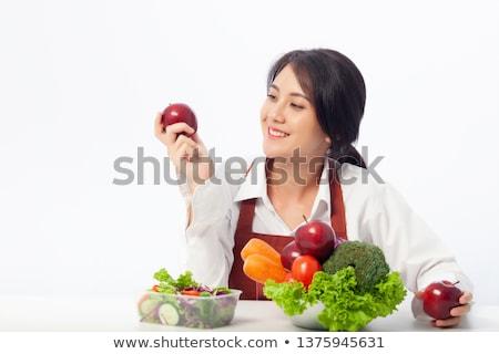 Foto d'archivio: Donna · mela · rossa · alimentare · mela · frutta