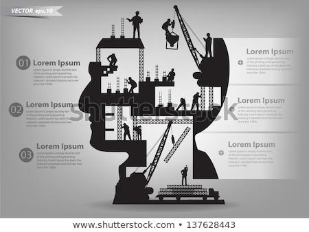 humanos · cabeza · silueta · reciclaje · signo · cara - foto stock © huhulin