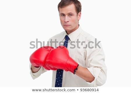 Man pak bokshandschoenen blanke man lichaam Stockfoto © wavebreak_media