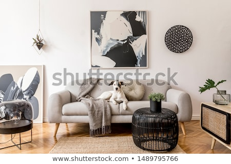 zwarte · sofa · tabel · muur · huis · mode - stockfoto © Ciklamen