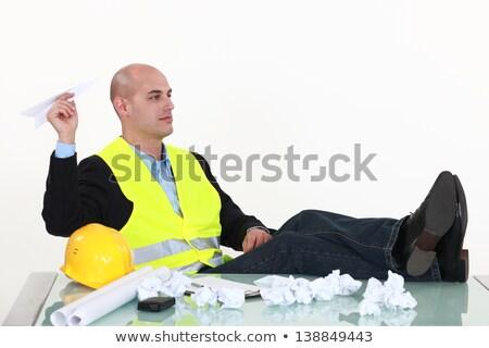 vervelen · werknemer · papieren · vliegtuig · kantoor - stockfoto © photography33