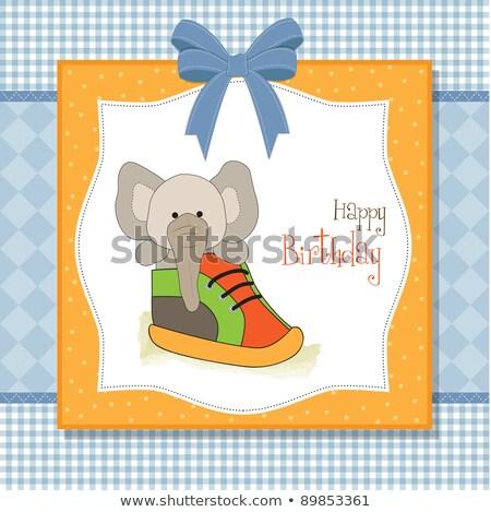 Feliz cumpleaños tarjeta elefante oculto zapato amor Foto stock © balasoiu