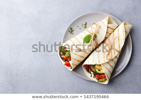 Stockfoto: Tortilla · plantaardige · brood · kaas · salade
