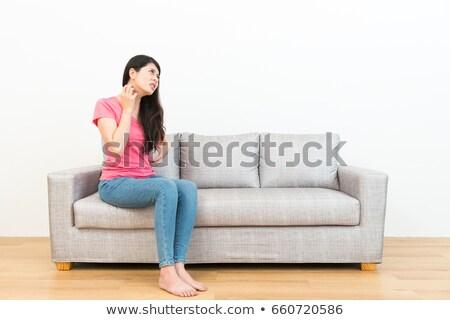 Brünette · Frau · Sitzung · Boden · schönen - stock foto © elwynn
