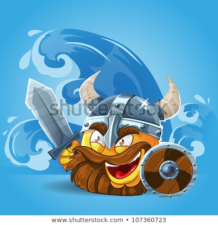 Viking cartoon with a big sword Stock photo © antonbrand