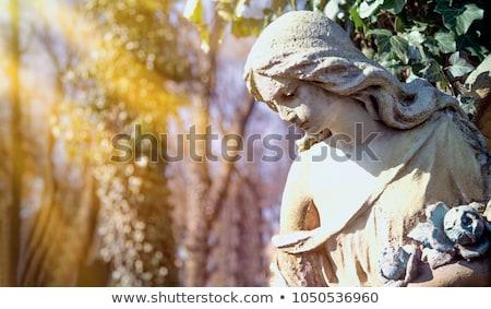 Stok fotoğraf: Dua · eden · melek · heykel · mermer · yas · melek