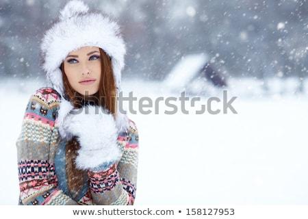 aantrekkelijke · vrouw · winter · bos · meisje · boom · gezicht - stockfoto © dedmorozz