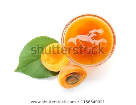 Sárgabarack lekvár üveg friss étel gyümölcs Stock fotó © MKucova