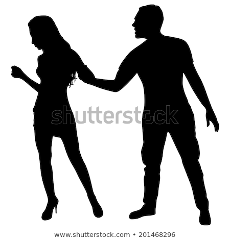 young woman is pulling her boyfriend to her by his hair stock photo © feedough