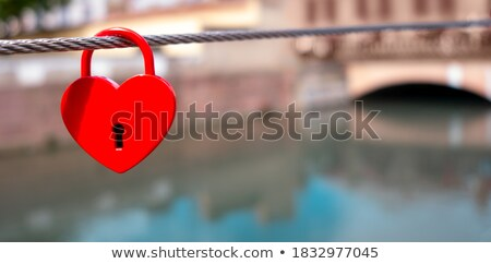 赤 アイコン 南京錠 木材 描いた ストックフォト © tashatuvango