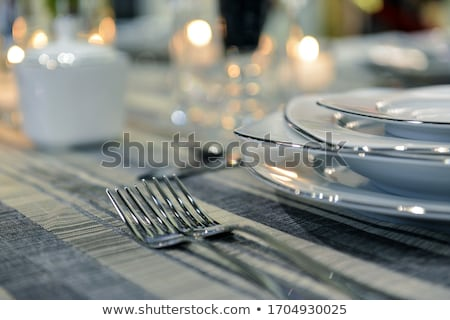 Stock photo: table in restaurant tableware glass banquet summer