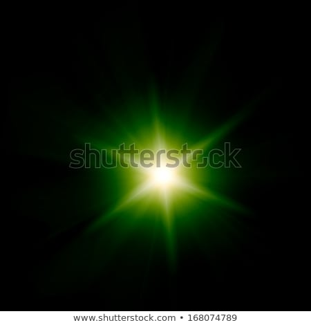 Stock photo: Green light burst with stars