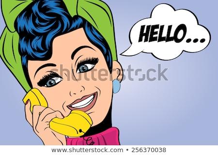 Pop art hölgy beszélget telefon szépség lányok Stock fotó © balasoiu