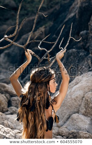 девушки · позируют · области · закат · красивой · блондинка - Сток-фото © witthaya