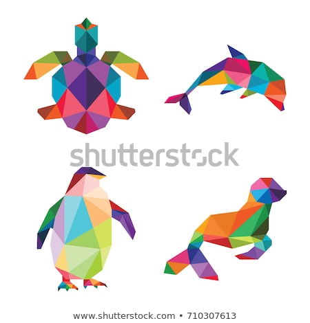 abstract illustration of sea turtle in origami style on white background stock photo © gladiolus
