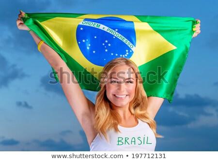 női · ventillátor · ugrik · zászló · sport · világ - stock fotó © BrazilPhoto